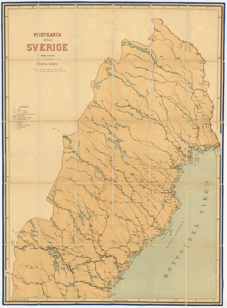 Postkarta över Sverige, norra delen, utgiven 1 mars 1889. Kartan av papper på väv.