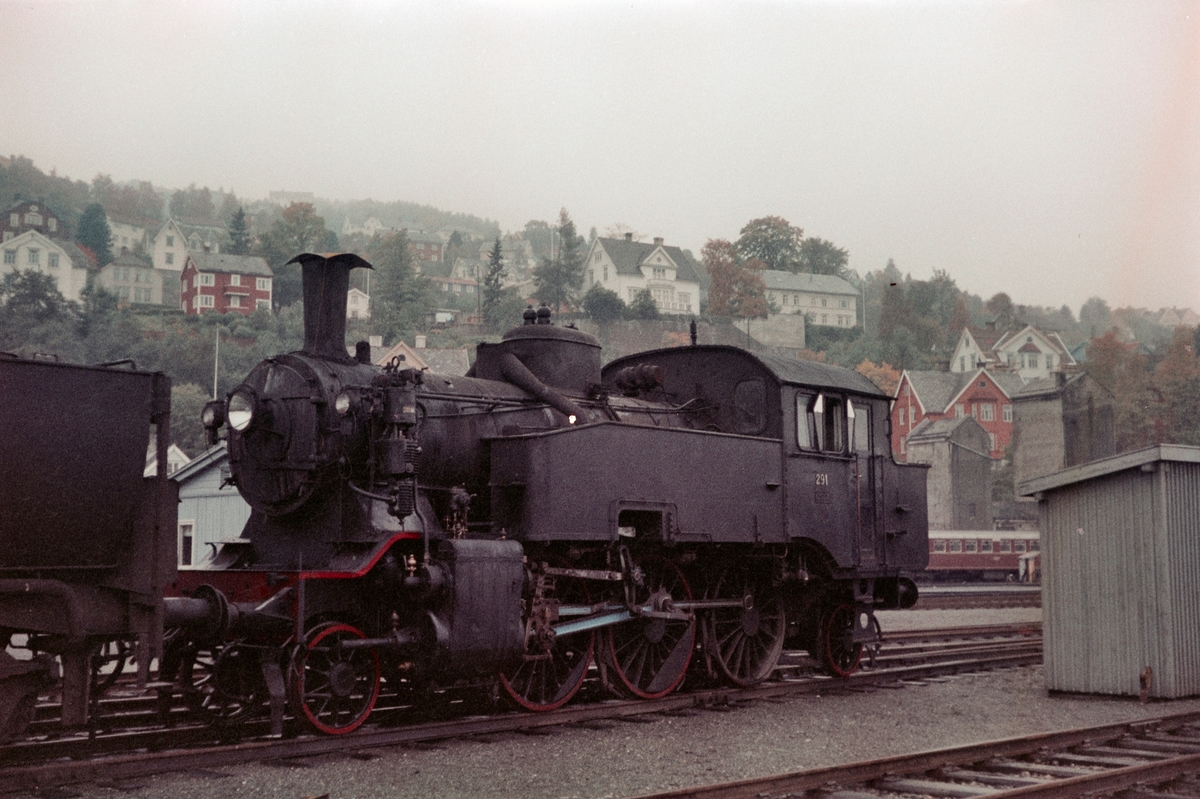Damplokomotiv type 32a nr. 291 på driftsbanegården ved Marienborg ved Trondheim.