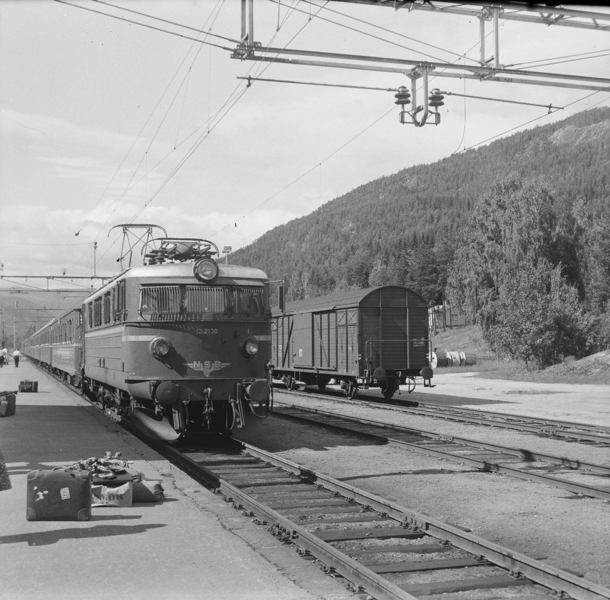 Tog fra Bergen til Oslo ankommer Nesbyen stasjon
