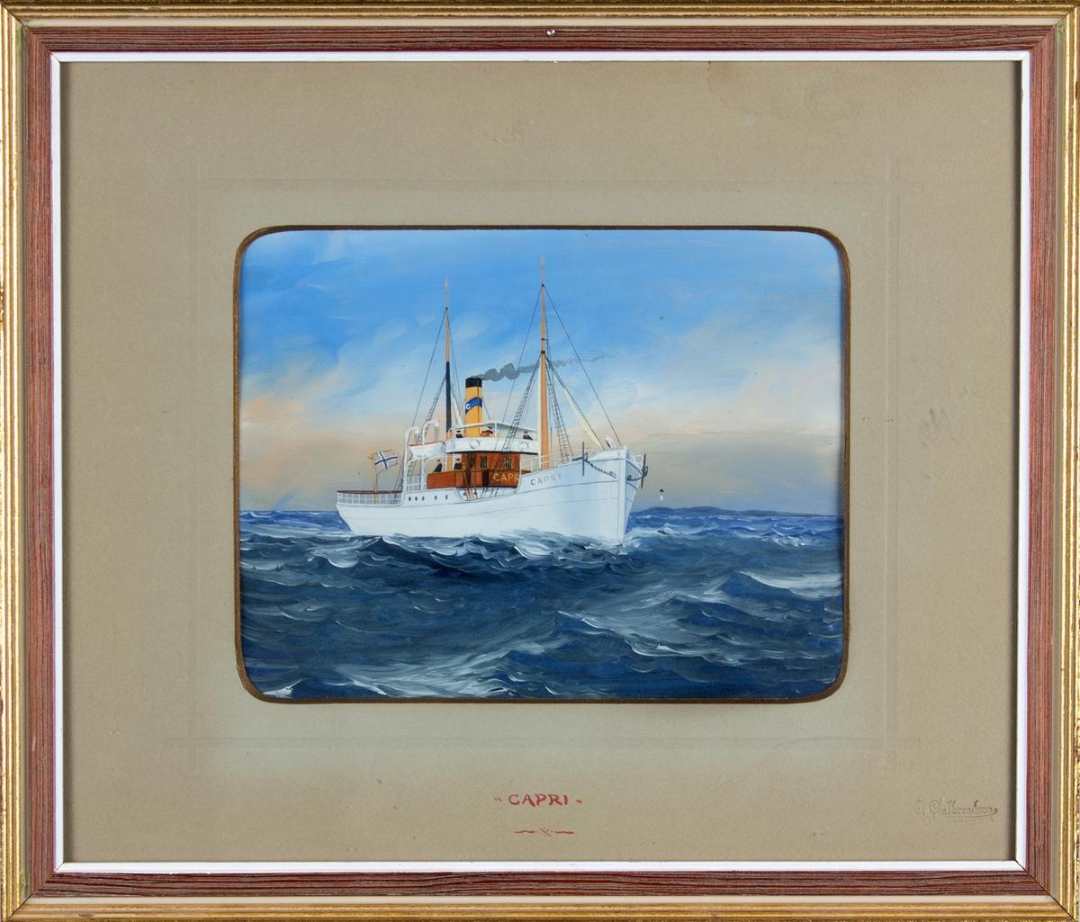 Skipsportrett av tredampskipet CAPRI under fart på åpent hav. Fører norsk flagg akter.