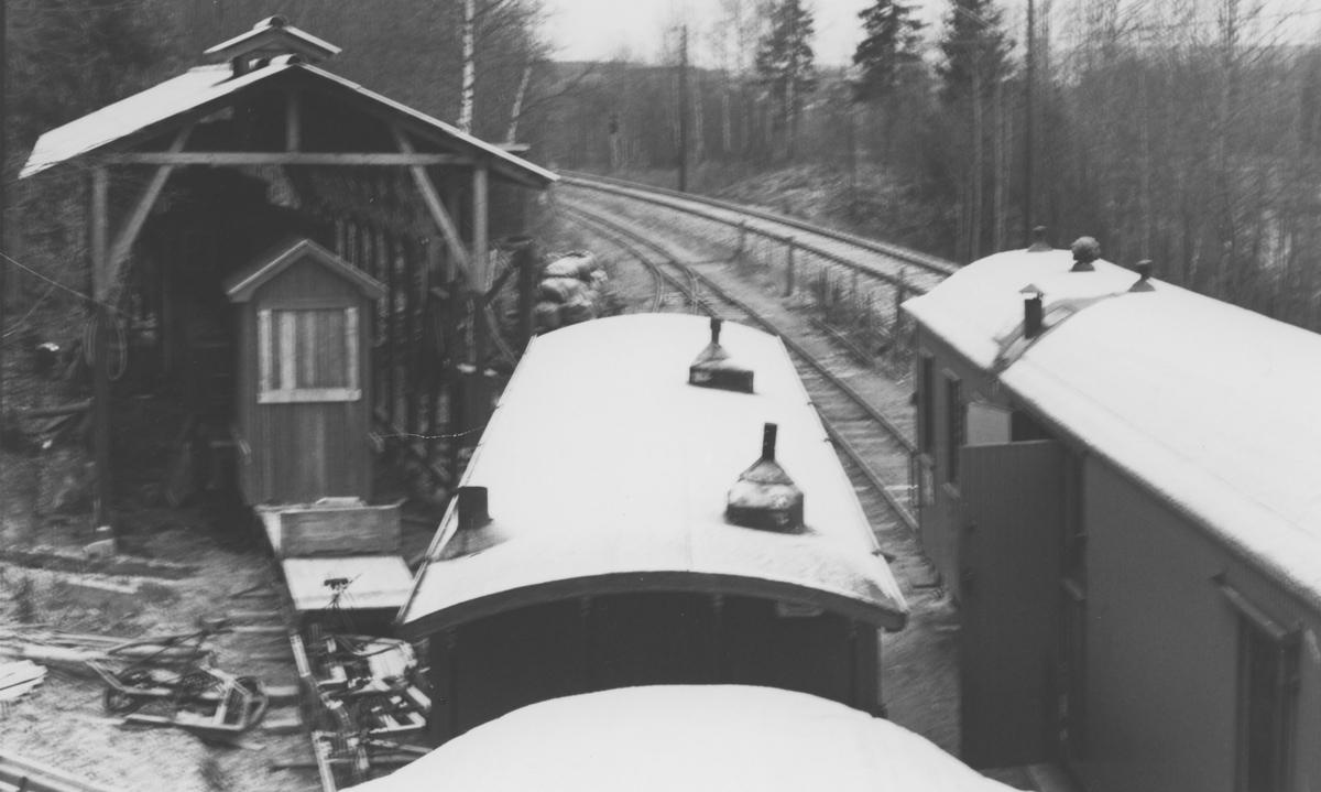 Noen av museumsbanen Urskog-Hølandsbanens personvogner på Bingsfoss stasjon.