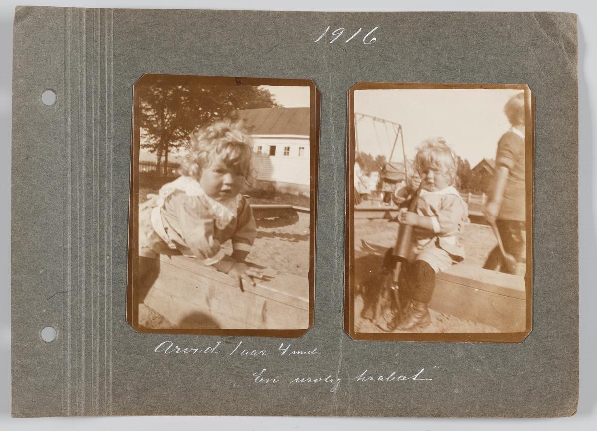 Begge bilder: Arvid Michelsen på ukjent lekeplass i Oslo, august 1916.