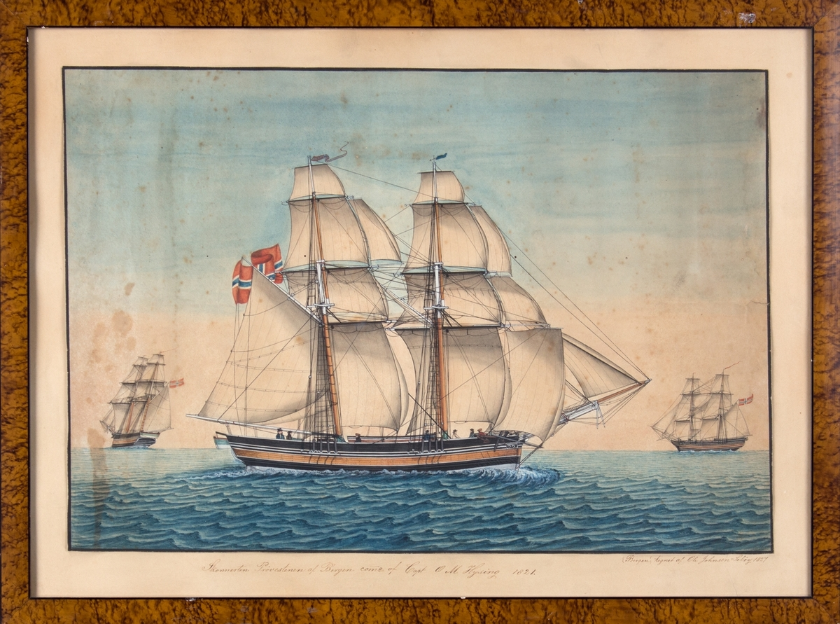 Skipsportrett av PRØVESTENEN under seil, norsk flagg. Mindre skip i horisonten.