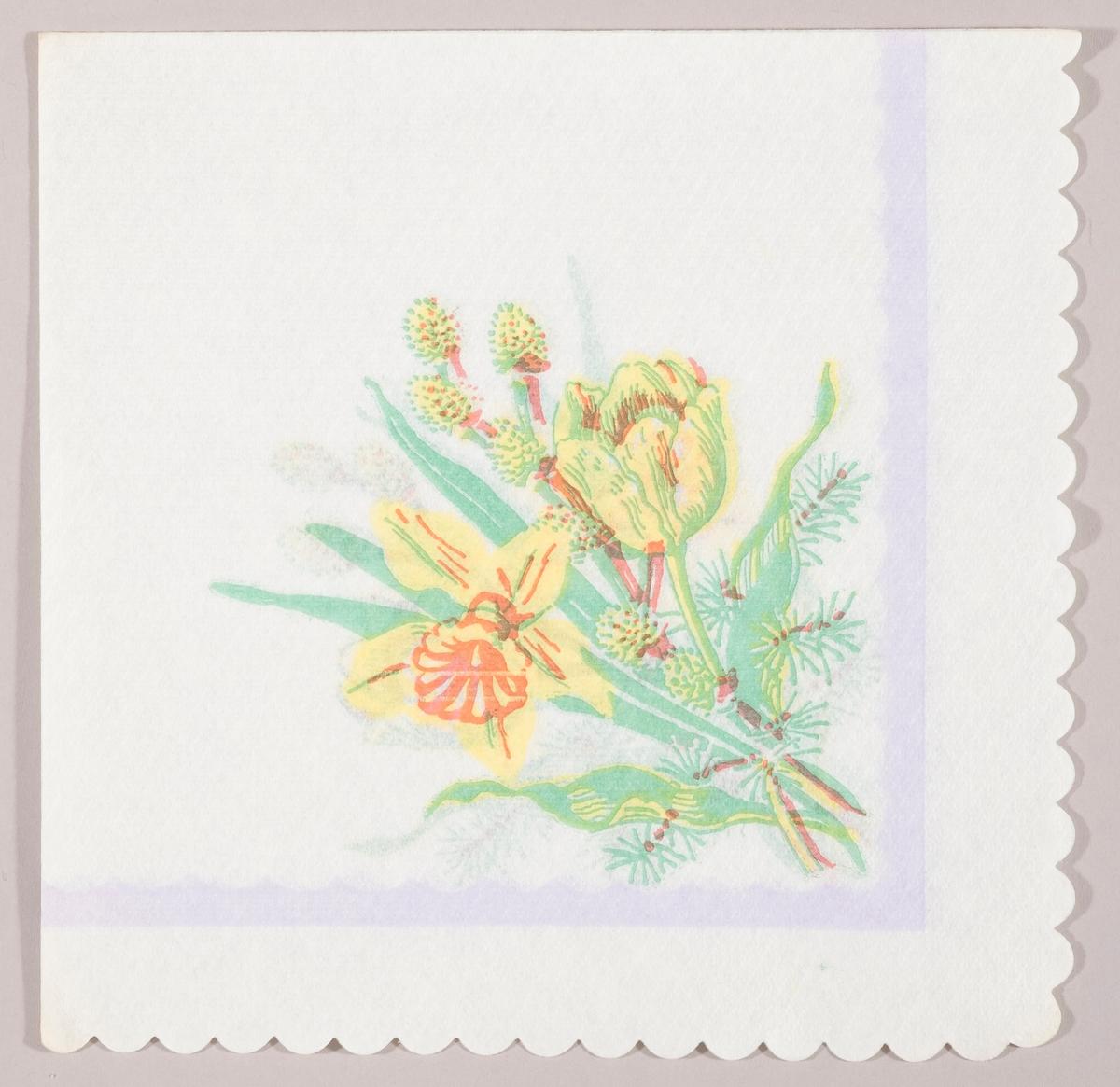"""En bukett med en påskelilje, en tulipaner og en gren med """"gåsunger"""". Lilla kantstripe."""