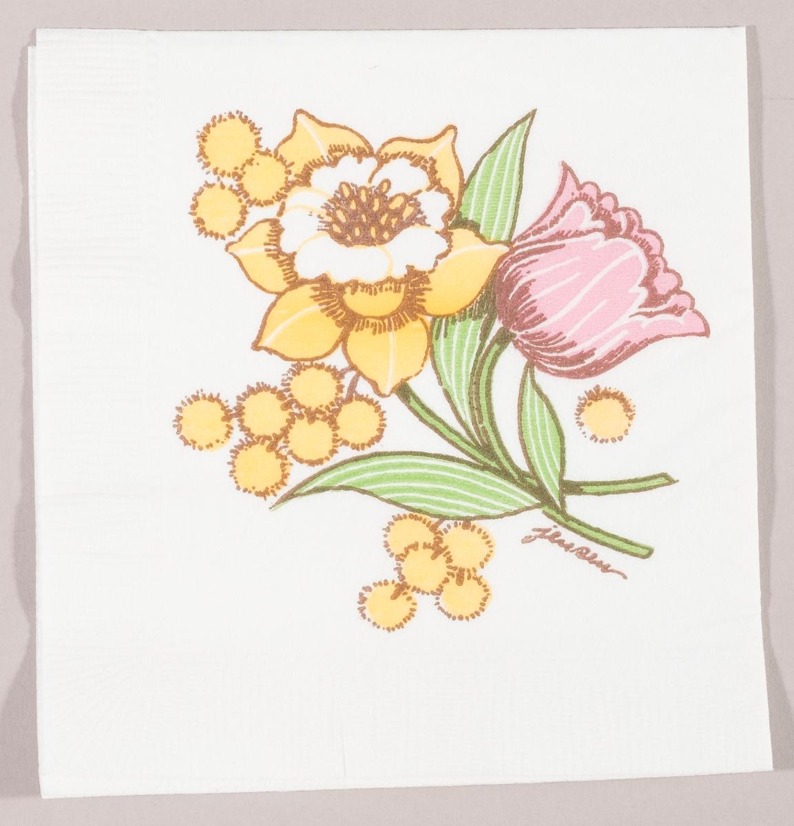 En bukett med en tulipan, en påskelilje og mimoser.