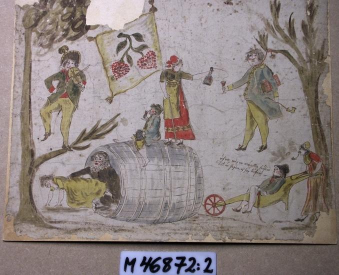 Akvarellmålning. Backanal. Kvinnor och män i tidstypiska kläder.  Övermänsklig lidelse, svartsjuka m.m.