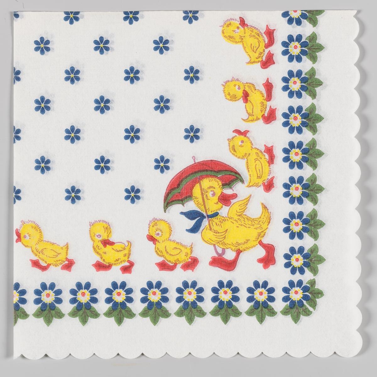En and med paraply og blå sløyfe rundt halsen dirigerer en flokk med andunger. Blå blomster og grønne blader.