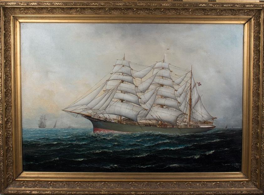Skipsportrett av jernbark UNIONEN med full seilføring i åpen sjø. Ser ett seilskip, dampskip og flere mindre seilfartøyer i horrisonten. Skipet sees seilende for styrbord halser. Norges første spesialbygde tankskip.