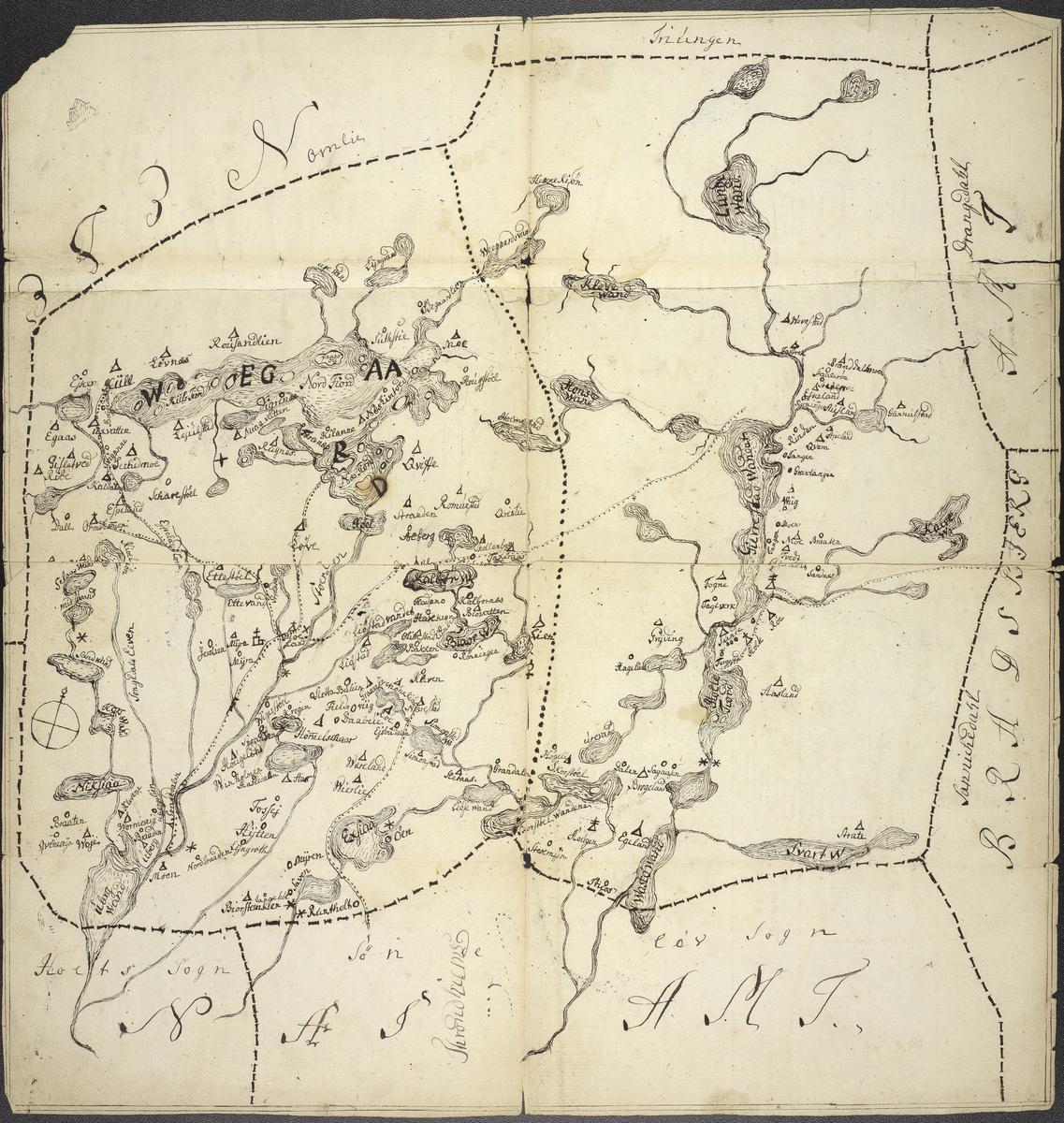 Kart over Vegårshei og Gjerstad