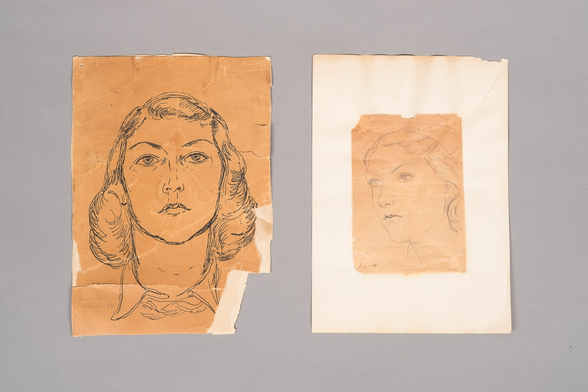 Portrettegninger av Ruth Madsen, tegnet av Anita Greve.
