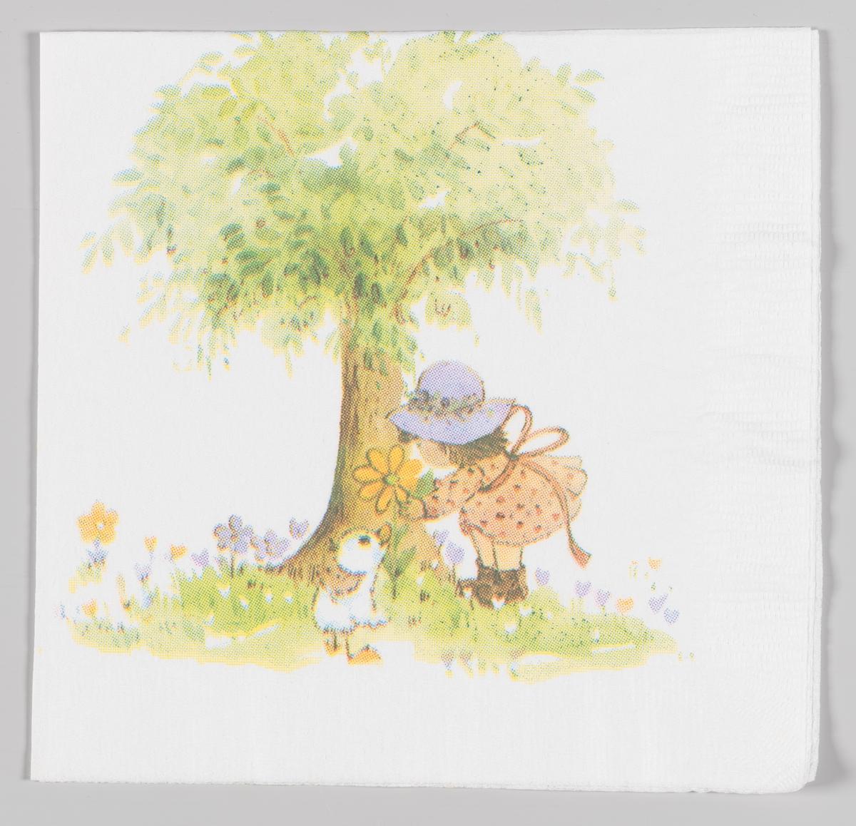 En jente med kjole og hatt gir en blomst til en and. Hun står foran et tre blant masse blomster.