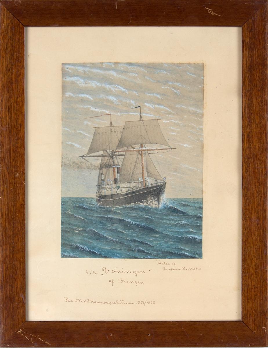 Skipsportrett av DS VØRINGEN som deltok på Nordhavsekspedisjon i 1876 - 1878. Under fart med seilføring.