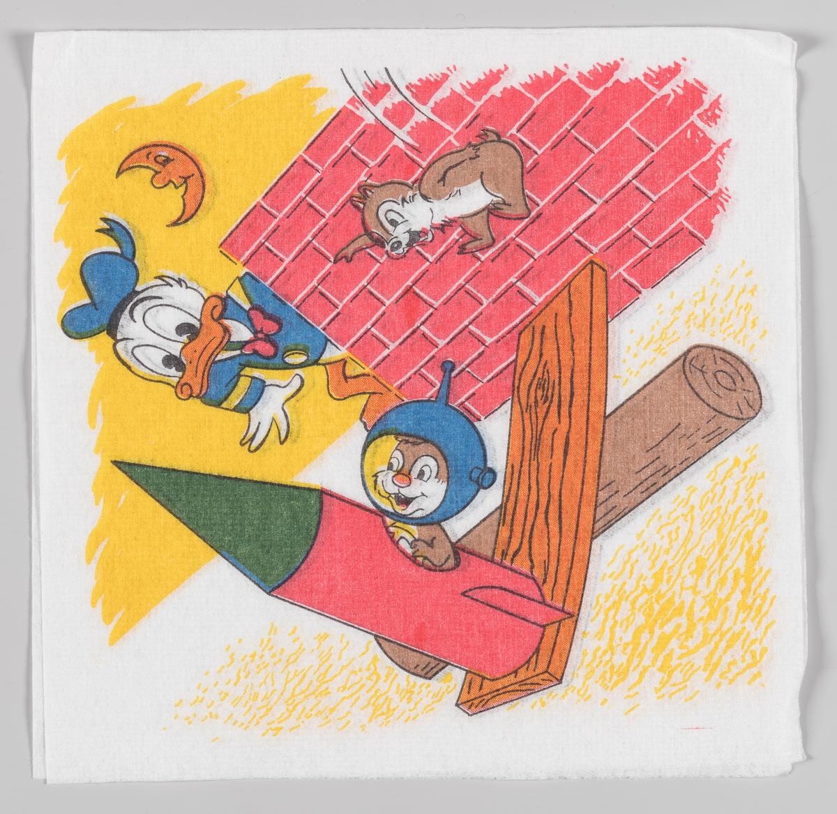 Donald Duck ser på Snipp og Snapp som prøver å få en rakett til å fly  Samme motiv på serviettene MIA.00007-003-0156 og MIA.00007-003-0157