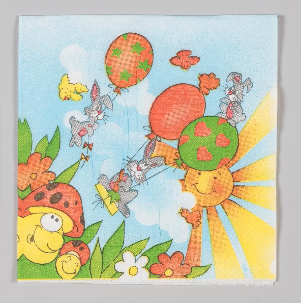 Tre kaniner svever med ballonger mens to ansiker med sopphatte ser opp og solen smiler og stråler