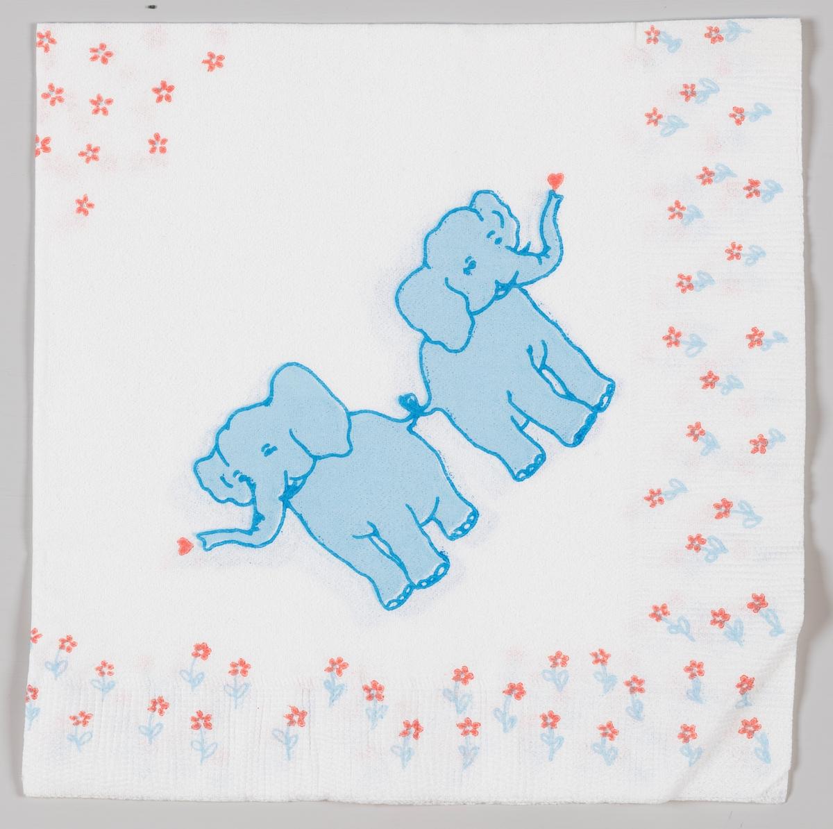 To blå elefanter som er bundet sammen ved halen.