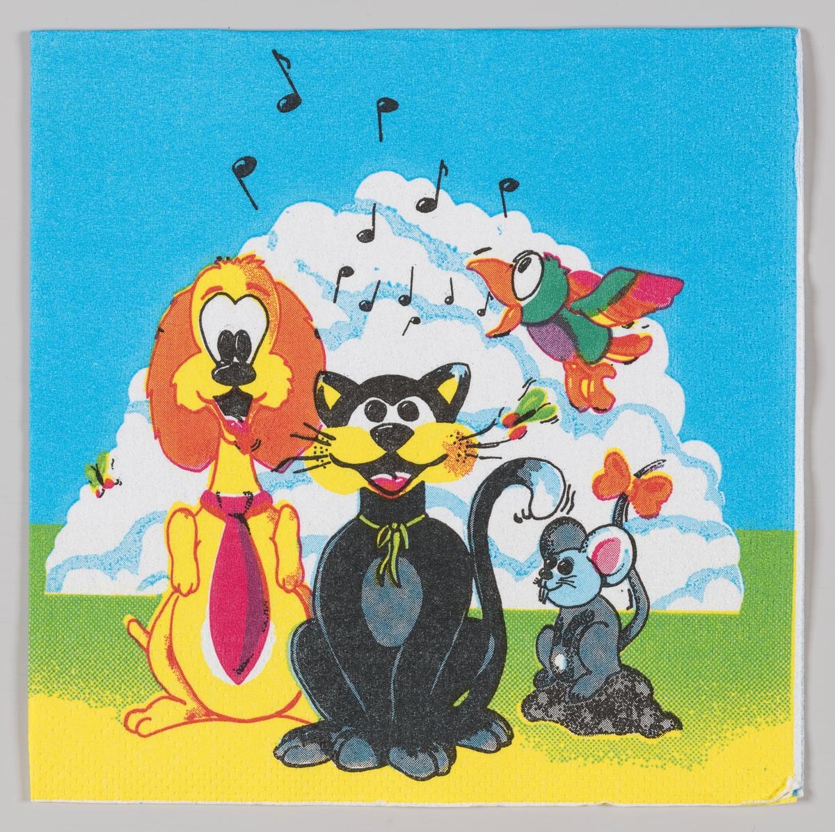 En hund, en katt, en mus og en fugl synger