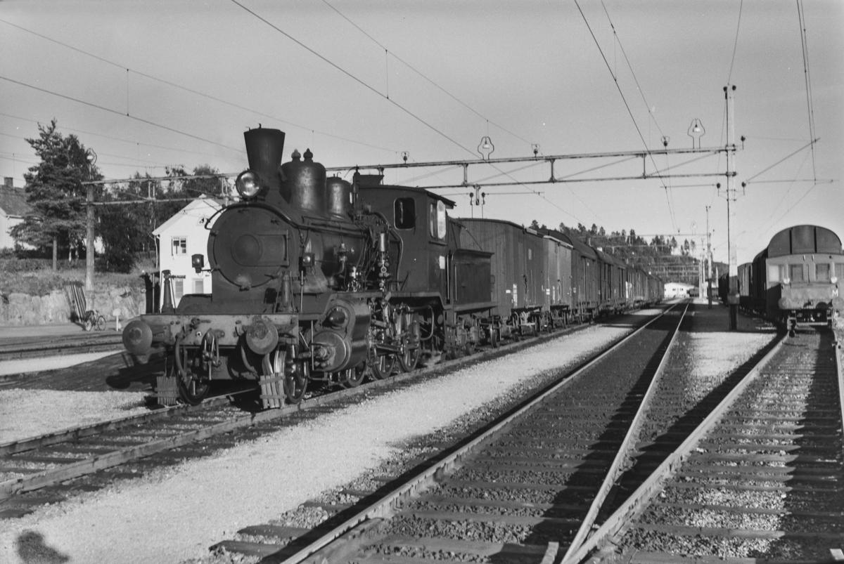 Godstog fra Arendal på Nelaug stasjon. Toget trekkes av damplokomotiv type 21a nr. 202.