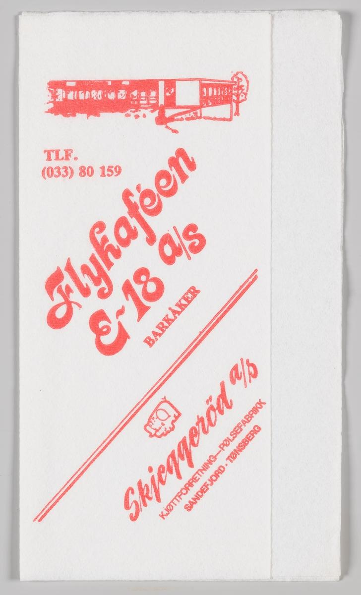 En tegning av spisestedet og reklametekst for Flykafeen og Skjeggerød A/S.  Flykafeen på Barkåker åpnet i 1954 og er i dag en bedrift sin driver ned restarant, catering, motell og konferansevirksomhet.  Skjeggerød er et varemerke innenfor slaktevarer. Varemerket eies av Fatland, som er et familieselskap, eid av familien Fatland. Rasmus Fatland startet med slakting ca. 1892 i Vikedal, og flyttet senere til Oslo for å selge kjøtt for slaktere i Sunnhordland og på Jæren. I dag er fjerde generasjon Fatland eiere.