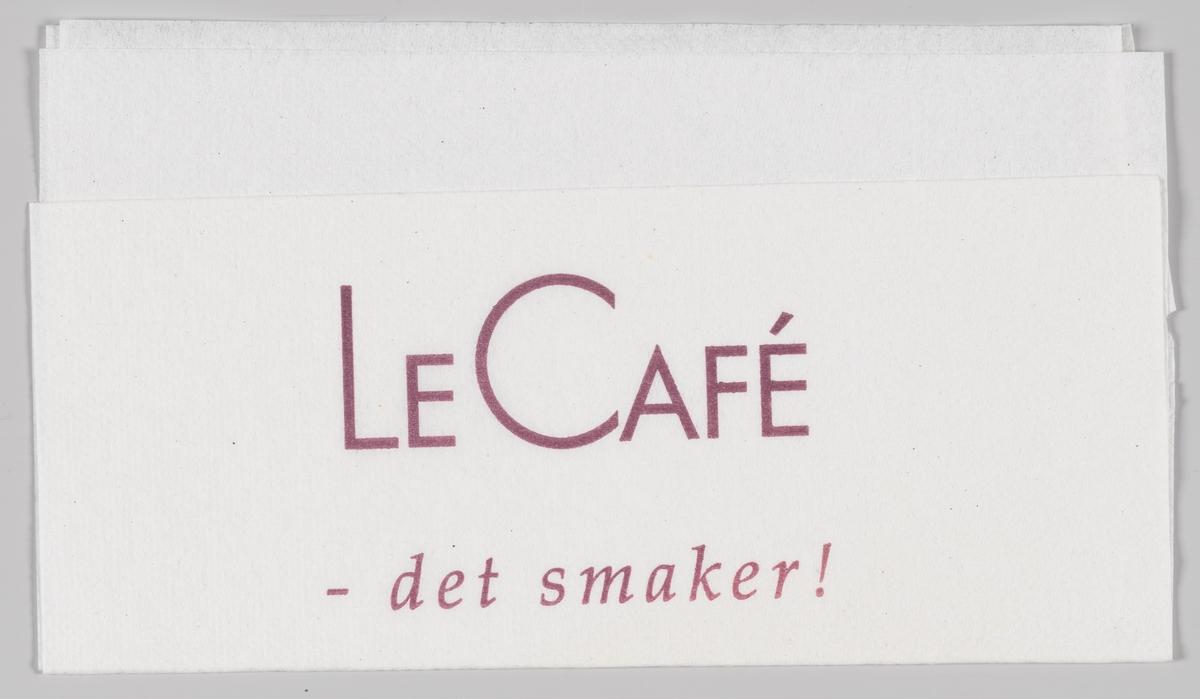 En reklametekst for Le Cafè.  Le Cafè var en kjede av kafeer som ble nedlagt i 2014 etter å ha drevet med underskudd.