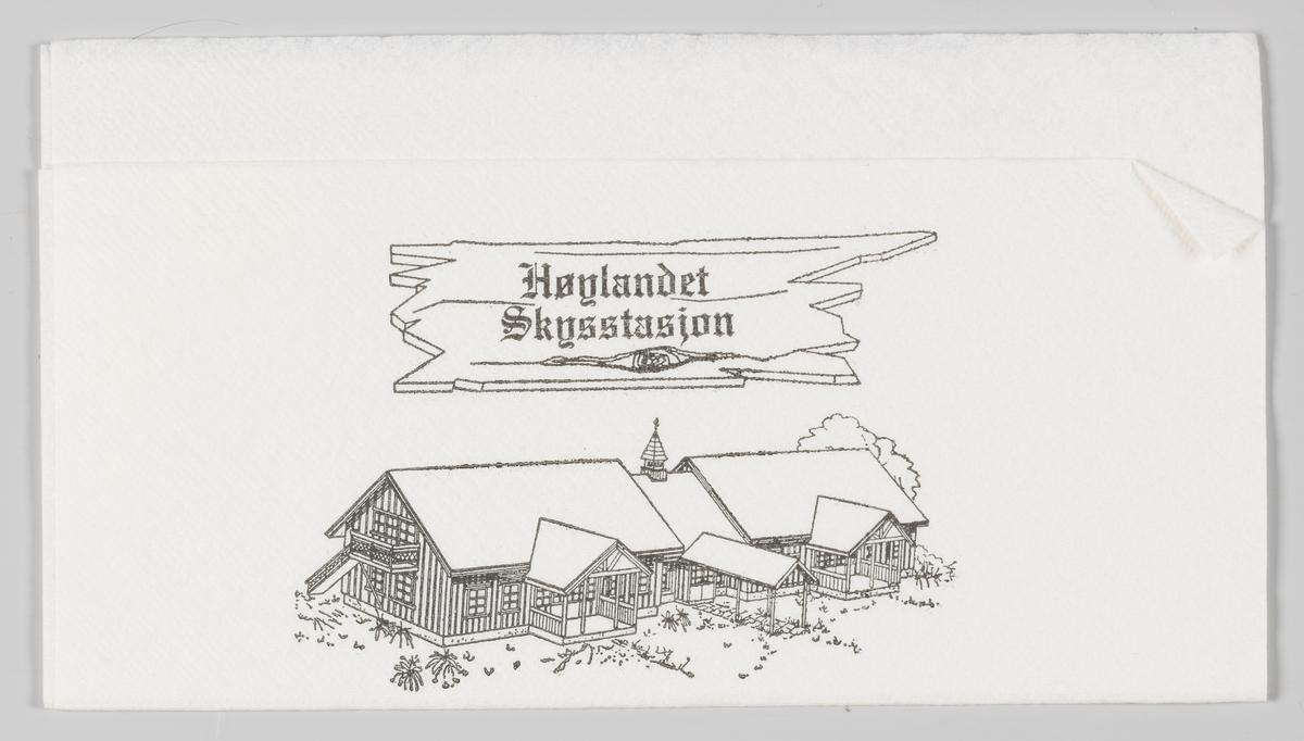 En tegning av Høylandet Skysstasjon i Namdal og en reklamtekst.   Høylandet kommune eier og driver Skysstasjonen. Det leies ut rom til overnatting og møter, i samarbeid med Namdal Rehabilitering.