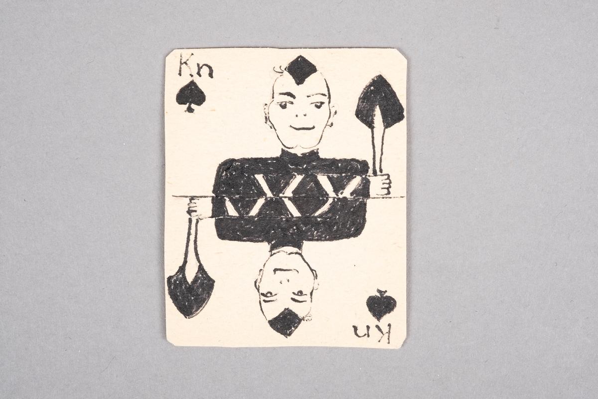 Et tegnet bilde av en mannlig fange som holder en spade. Motivet er speilet.