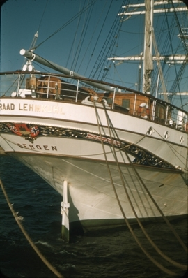 Akterspeilet på skoleskipet STATSRAAD LEHMKUHL.
