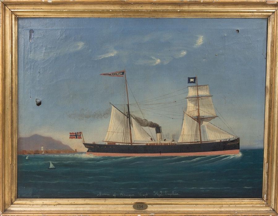 Skipsportrett av DS AURORA under fart utenfor havneby. Fører vimpel med skipets navn samt unionsflagg akter. På fortoppen skipets kompagniflagg.