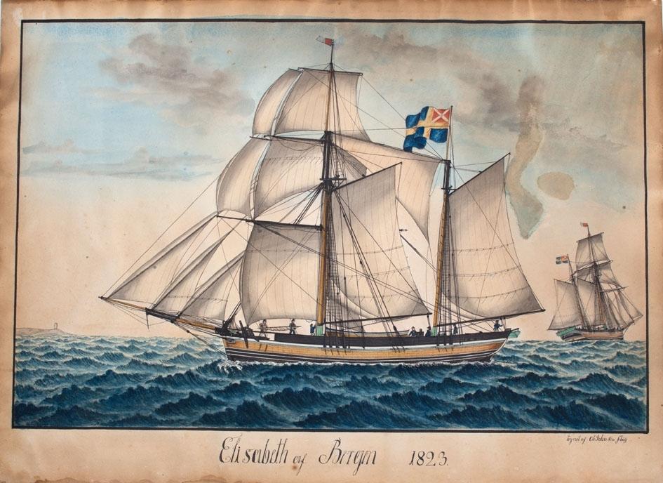 Skipsportrett av galeas ELISABETH under fulle seil. Skipet fører svensk-norsk unionshandelsflagg (1818-1844) akter. Ser skipet aktenfra i høyre del av bildet.