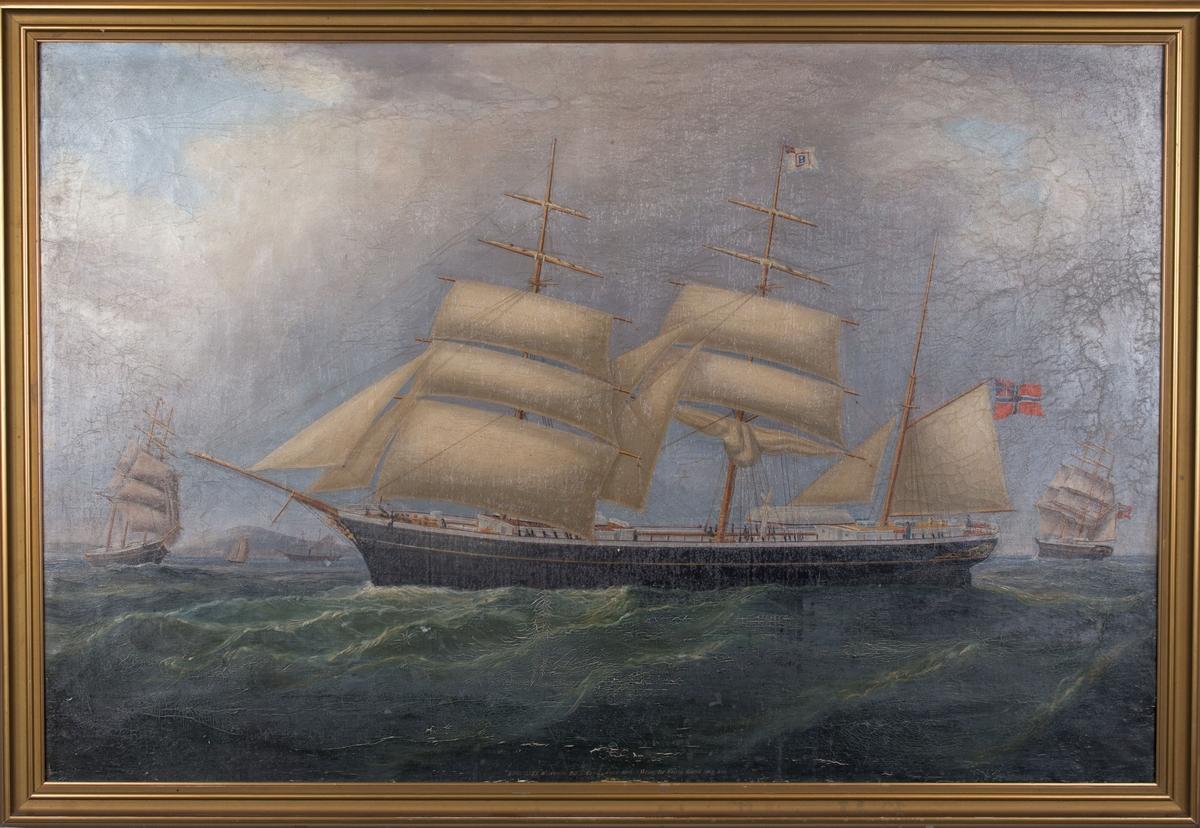 Skipsportrett av bark EPHIALTES ført av kaptein Falck. Samme skip sees fra tre ulike vinkler med seilføring. Fører norsk handelsflagg med svensk-norsk unionsmerke (sildesalaten) i akter. På dekk sees en vindmøllepumpe til utpumping av vann i bunn av skroget.