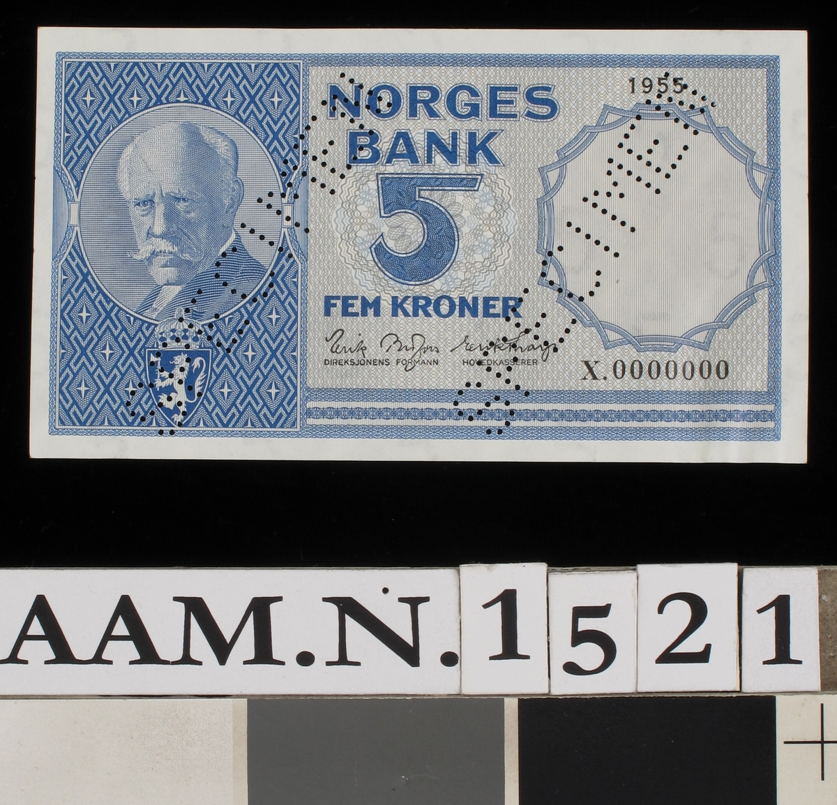 Portrett av Fridtjof Nansen. På revers side motiv fra Lofoten, fjell, fiskebåter, fiskere i arbeid m.m.