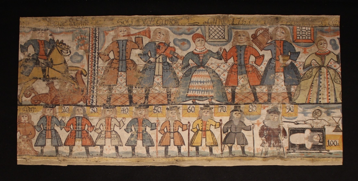 Övre delen av bonaden skildrar Sankt Göran och draken med jungfrun samt ett gästabud, troligen ett bröllop. Högra delens motiv omfattar även nedre delen med ett dukat bord och balusterdockor. Nedre delen skildrar människans åldrar från 0 till 100 år i form av en lång rad med män.