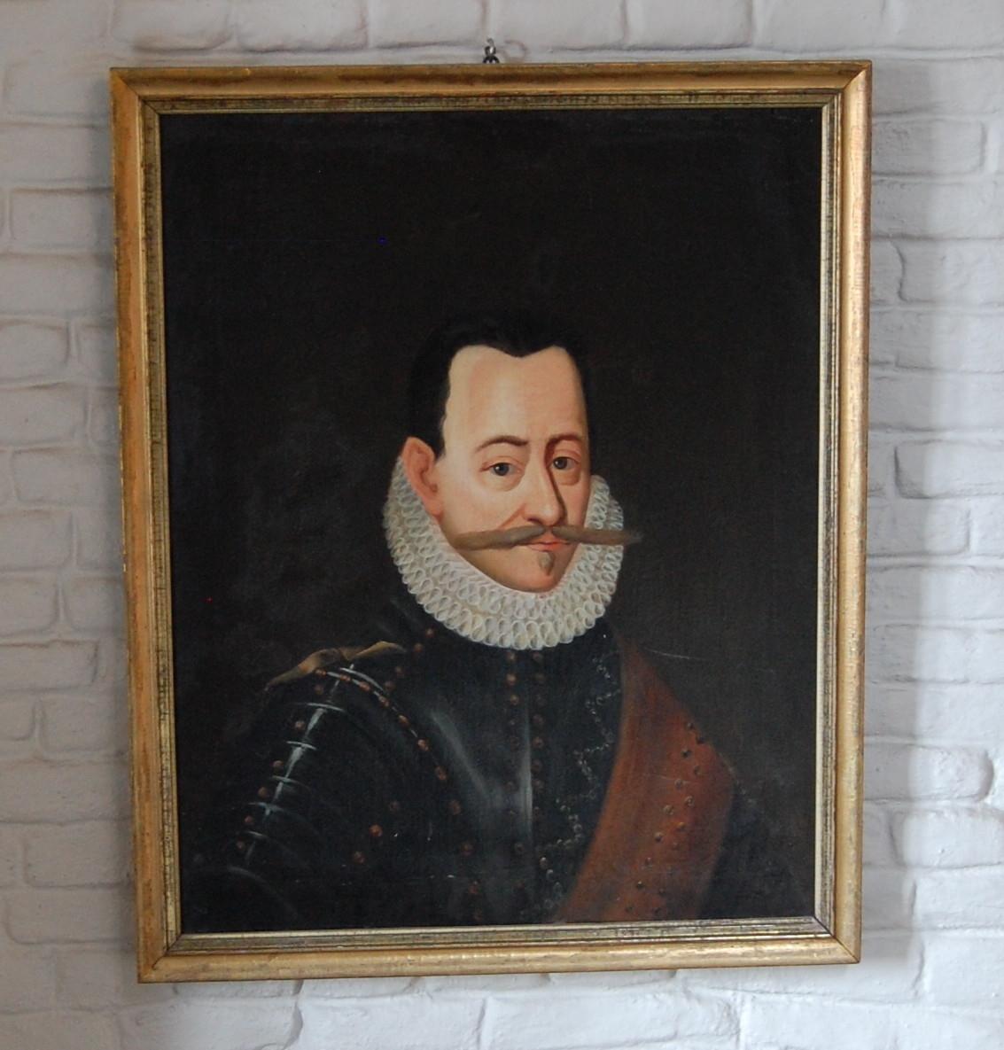 Olje på lerret, forgylt profilert ramme, portrett av Fredrik II.