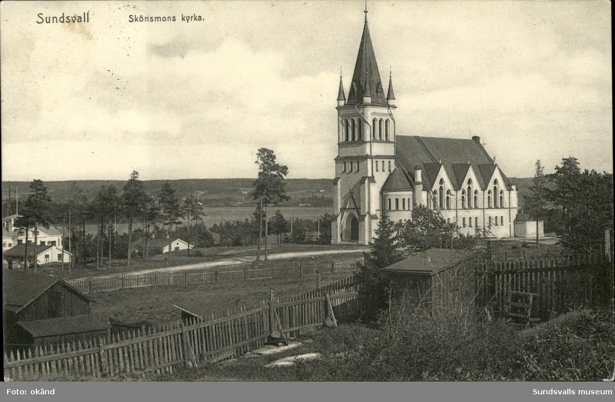 Vykort med motiv över Skönsmons kyrka och Kubikensborgs Herrgård i bakgrunden.