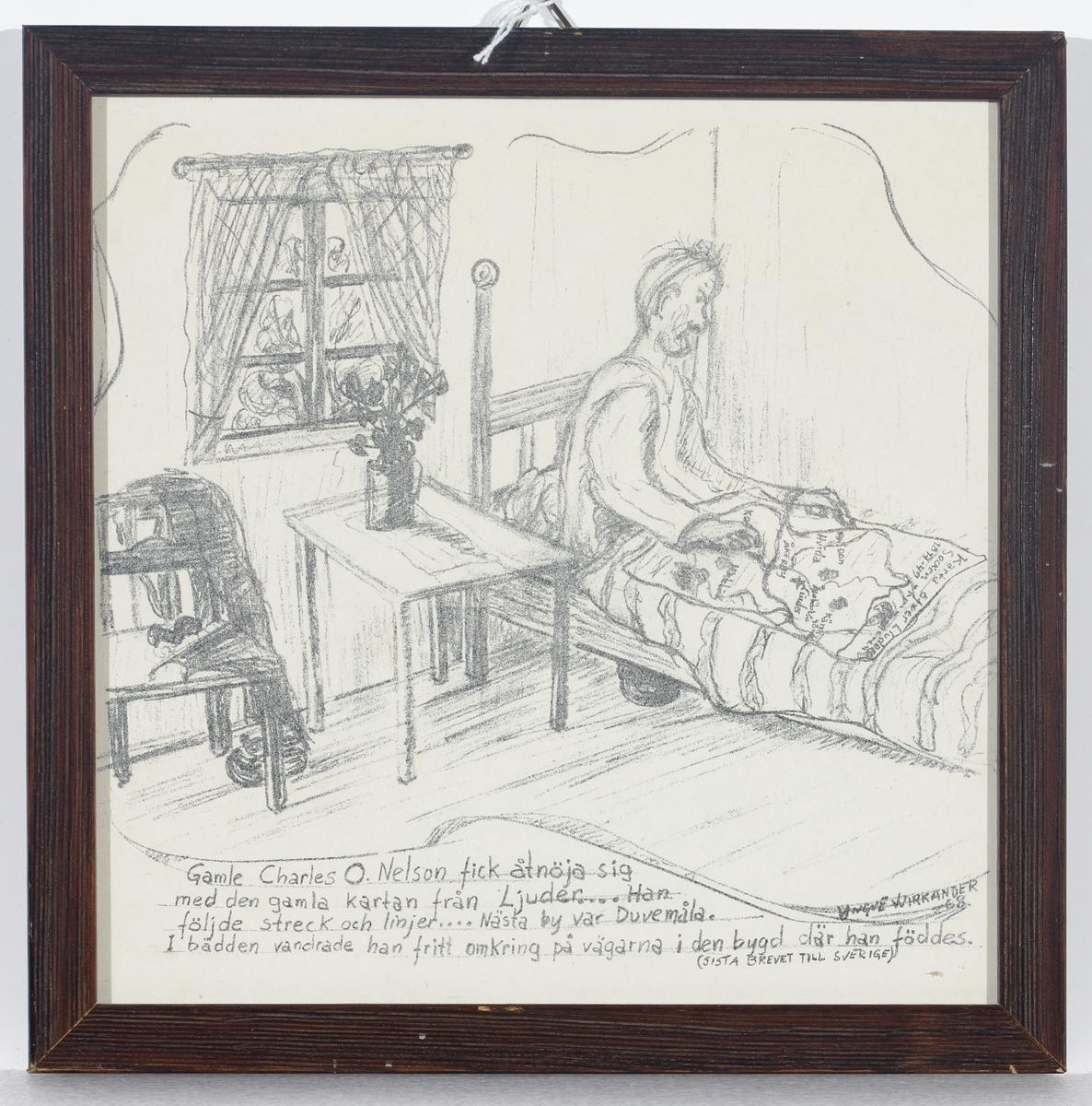 En gammal man sitter i en säng med en karta framför sig.