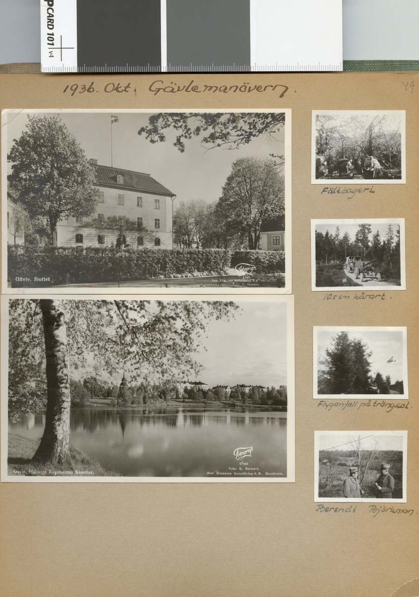 "Text i fotoalbum: ""1936. Okt. Gävlemanövern. Fältbageri""."