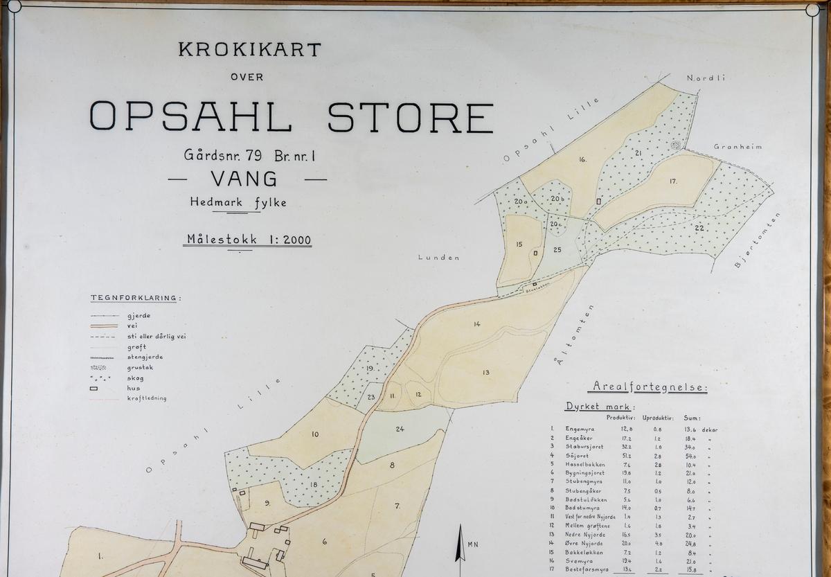 Gards kart, Krokikart over eiendommen Opsahl Store. Gårdsnr: 79. Bruksnr: 1, Vang.  Optatt 1936 av F. Heyerdahl. Gårds kart, Kart med navn på de forskjellige parsellene.