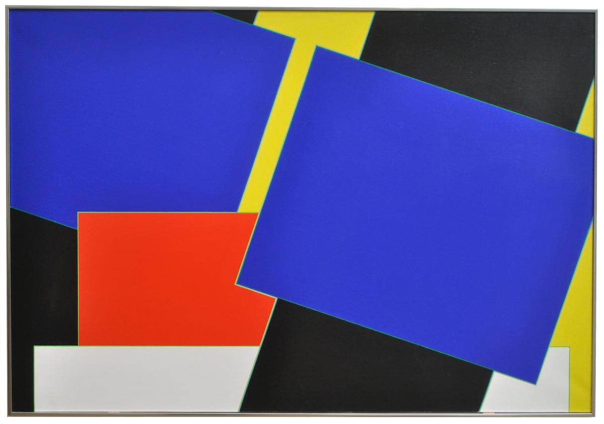 Liquitex på duk, Peter Freudenthal, 1974. En abstrakt komposition där rakt och diagonalt ställda ytor i svart, blått, gult och rött överlappar varandra.