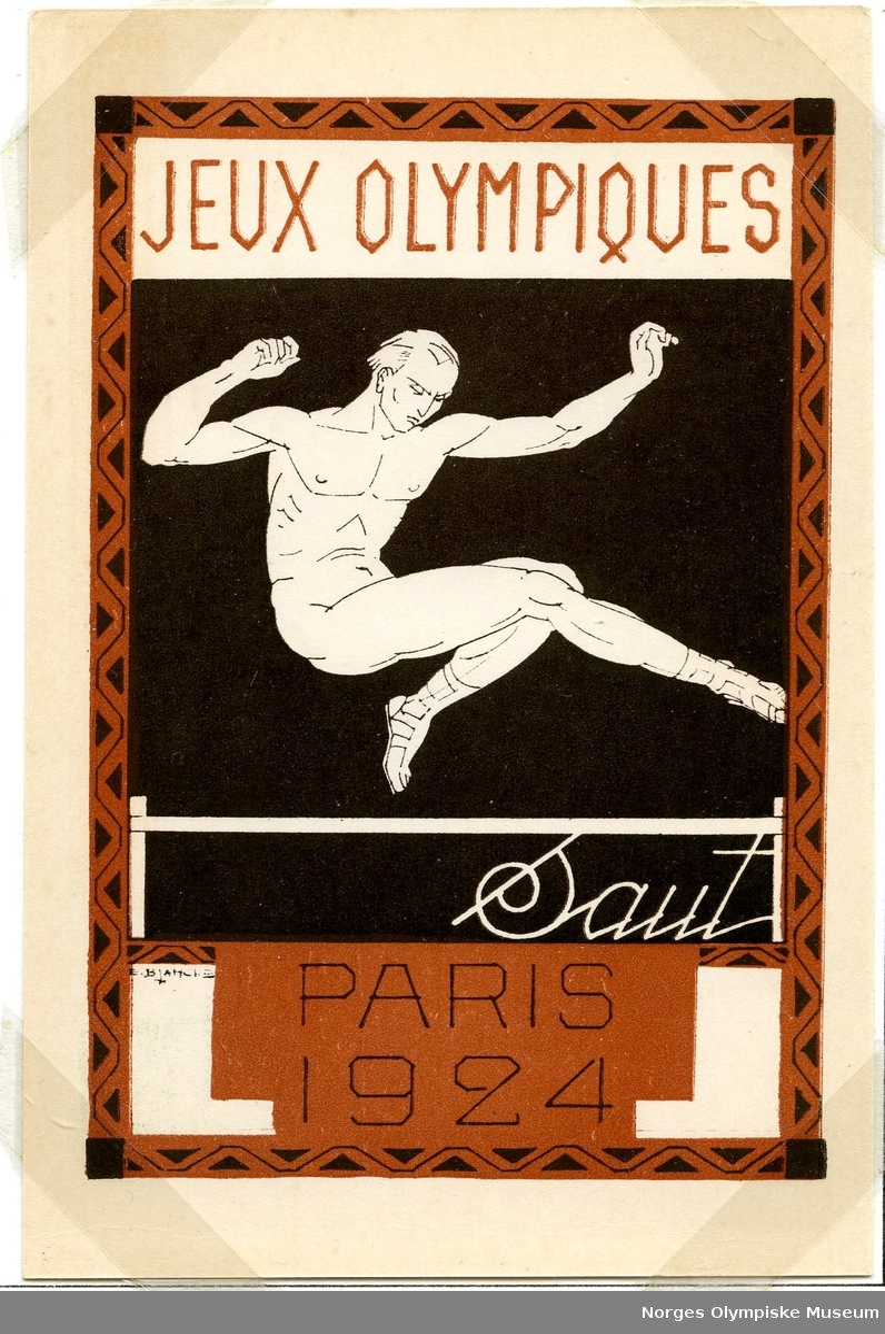 Fire olympiske postkort monter på albumside. Alle kortene er merket med den samme teksten. Hvert kort er illustrert med hver sin indrett: Det første rugby, det andre boksing, det tredje roing og det siste hopp.