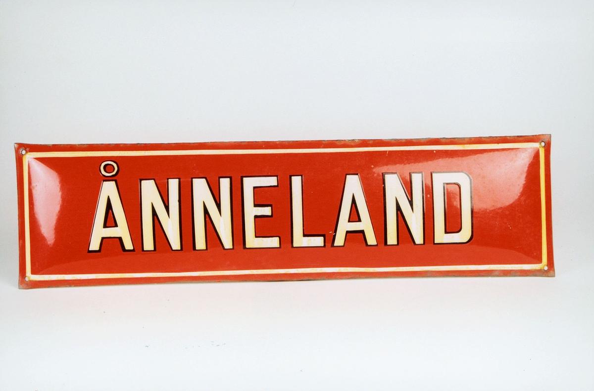Postmuseet, gjenstander, skilt, stedskilt, stedsnavn, Ånneland.