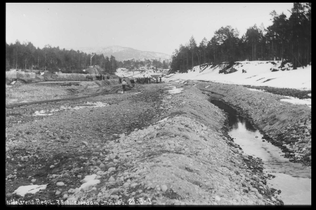 Arendal Fossekompani i begynnelsen av 1900-tallet CD merket 0468, Bilde: 92 Sted: Nisser dam Beskrivelse: Regulering
