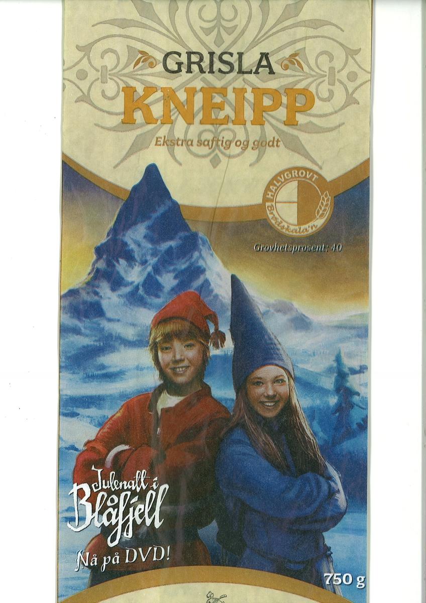 """Motivet på brødposen er en rødnissegutt og en blånissejente fra filmen """"Julenatt i Blåfjell""""."""
