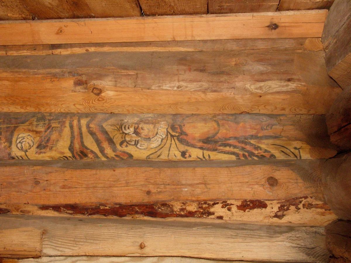 Merdøgaard, sjøboden. Detalj fra interiør av salteboden, gjenbrukt tømmer med dekorasjonsmaling, trolig fra 1600-tallet.