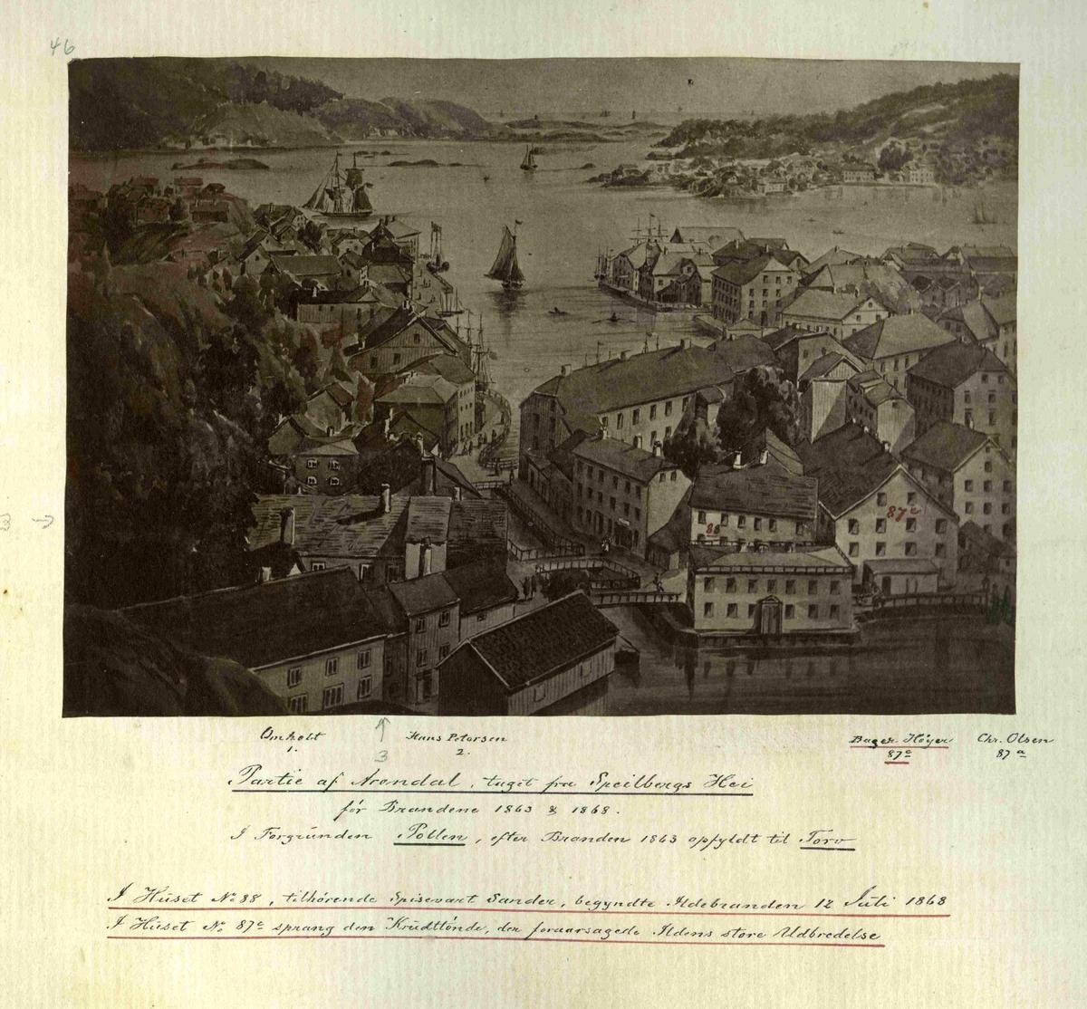 """Parti av Arendal sett fra """"Speilbergs hei"""" før brannen i 1863"""