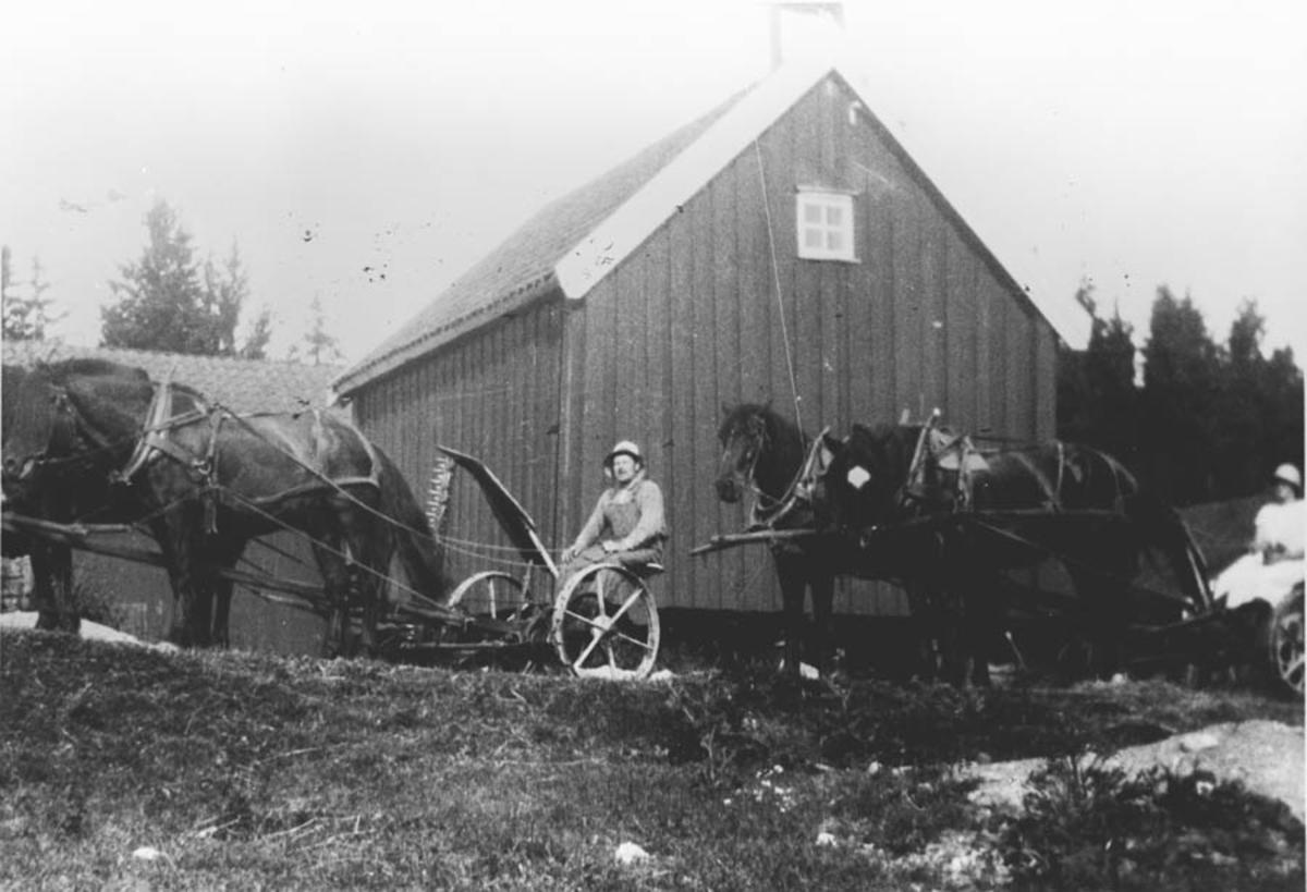 Johan og Olga Ambjørnrud kommer hjem med hester og slåmaskiner.