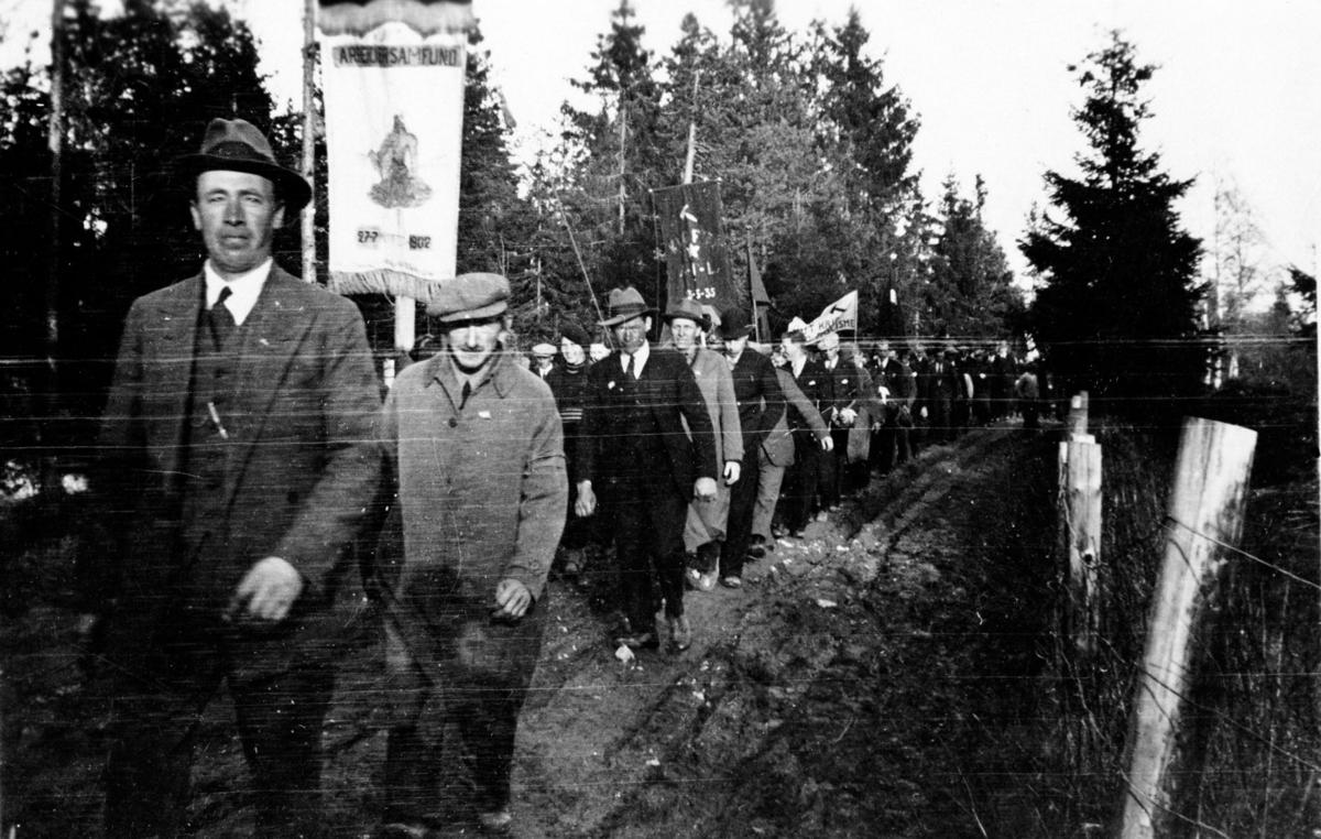 1. mai-tog på Jessheim tidlig i 1930-åra.