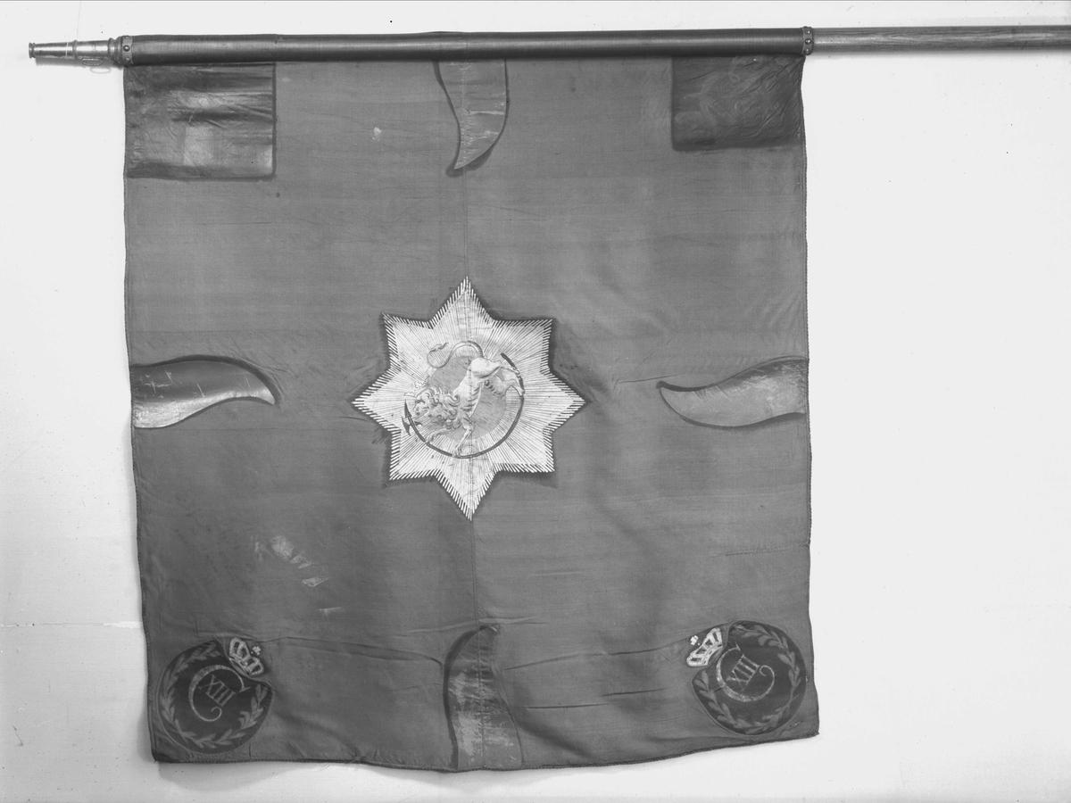 Oplandske gevorbne regiment. F.VI. Blå(grønn) silkefane. Dannebrog i øverste hjørne nærmest stangen.. Kronet F VI i nederste hjørne ved stangen. Kronet F VI i de 2 øverige hjørner er foranderet til  C XIII.