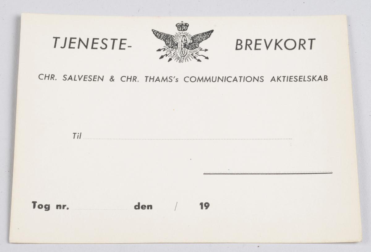 Rektangulær ubrukt billett i hvit papp med påtrykt informasjon i svart.