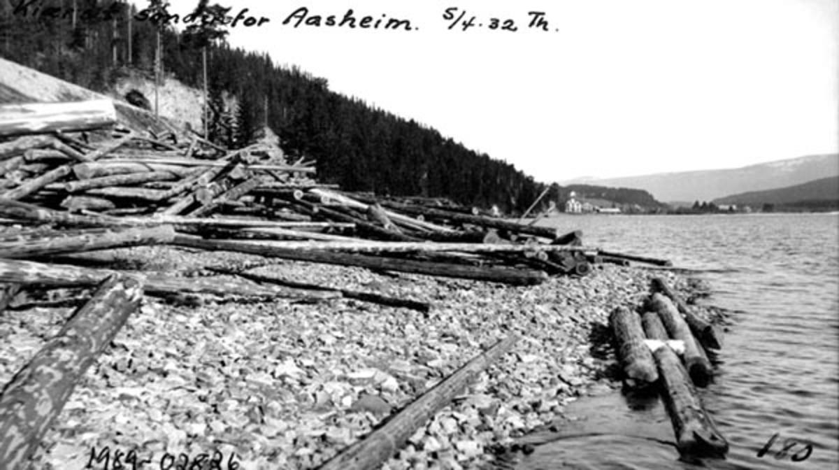 Kiærs tømmer ved Storsjøen i Rendalen, litt sør for Åsheim i nordenden av sjøen.  Tømmerstokkene ligger hulter til bulter på ei steinete strand.  Dit er det tydeligvis veltet av sleder på vegen ovenfor foregående vinter uten at det er lagt arbeid i å få virket til å ligge slik at det er greit å slå på vannet når fløtinga skal begynne.  Til venstre i bildet ei li som er kledd med tett barskog.  Ved stranda, lengst nord i sjøen, skimtes bebyggelsen på Åsheim.