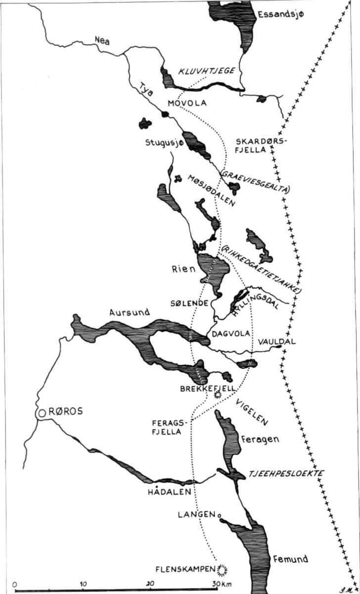 Esanden-samenes flyttevei mellom sommer- og vinterbeite. Etter opptegninger av Johs. Falkenberg 1942-43.