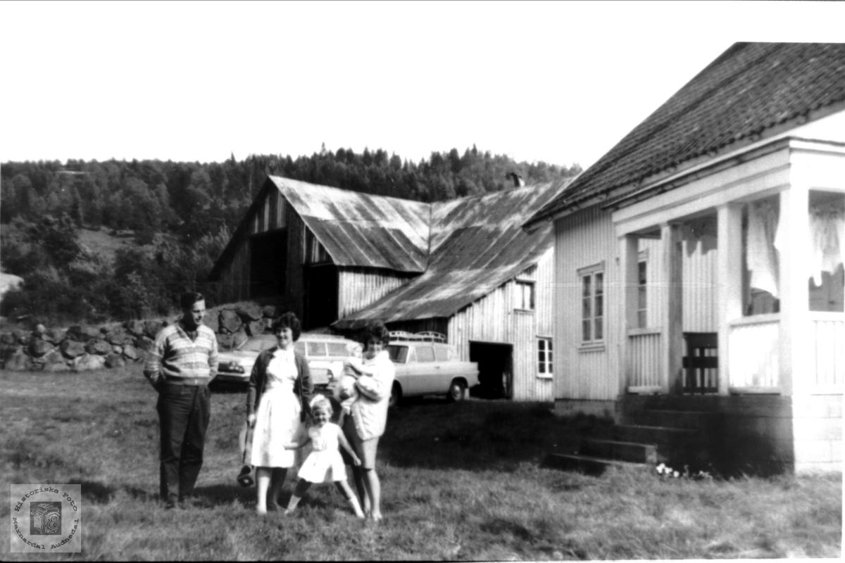 Torhild og Arna med noen av familien i tunet heime på Ågedal i Bjelland senere Audnedal..